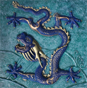 chinese water dragon sculpture relief bronze and resin